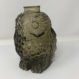 Vtg Brown Amber Glass WISE OLD OWL Piggy Bank